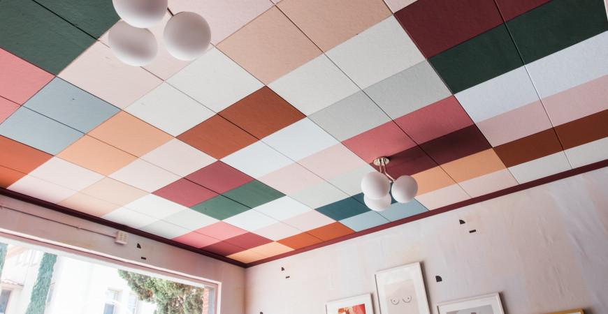Покраска подвесных потолочных плит